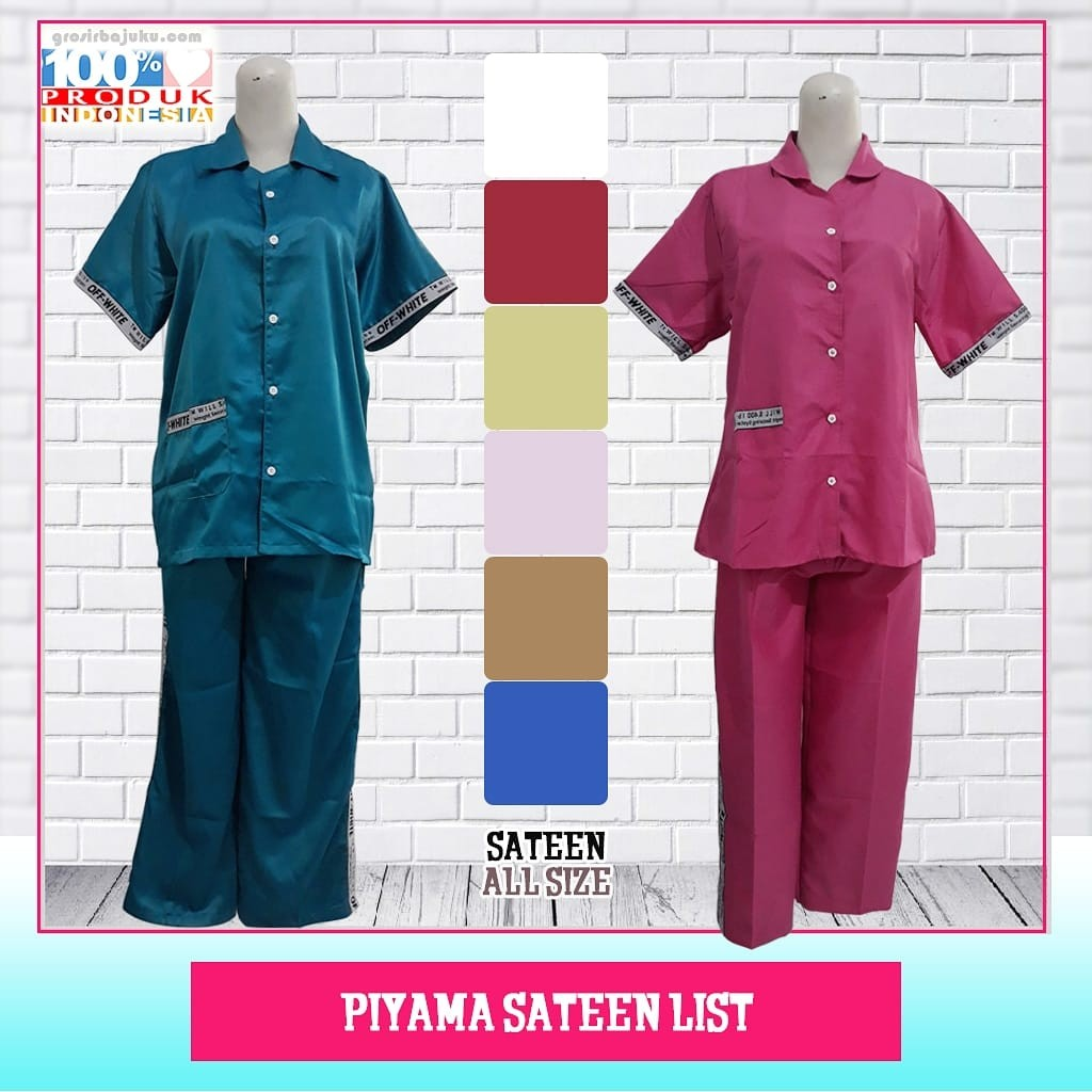 Piyama Sateen List Dewasa